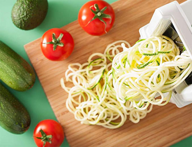 Vegetable Spiralizer on top of a chopping board